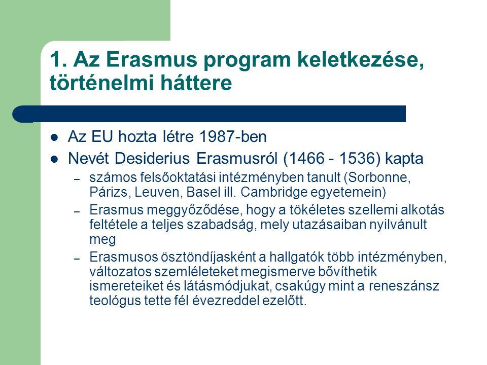 1. Az Erasmus program keletkezése, történelmi háttere