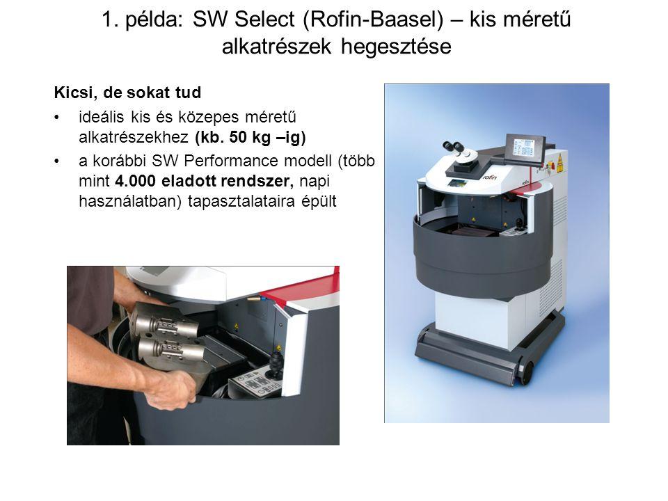 1. példa: SW Select (Rofin-Baasel) – kis méretű alkatrészek hegesztése