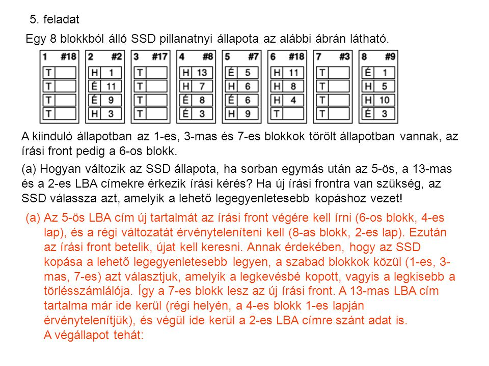 5. feladat Egy 8 blokkból álló SSD pillanatnyi állapota az alábbi ábrán látható.