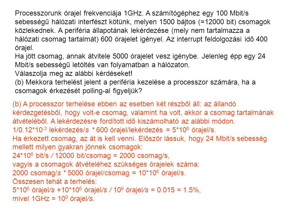 Processzorunk órajel frekvenciája 1GHz