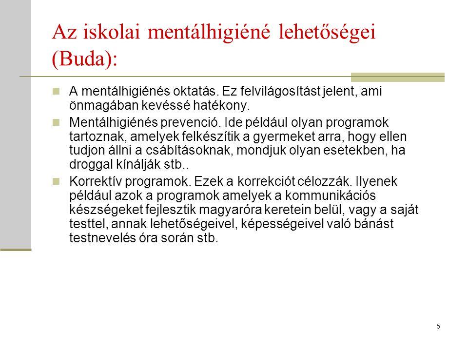 Az iskolai mentálhigiéné lehetőségei (Buda):