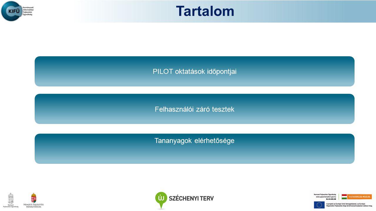 Tartalom PILOT oktatások időpontjai Felhasználói záró tesztek