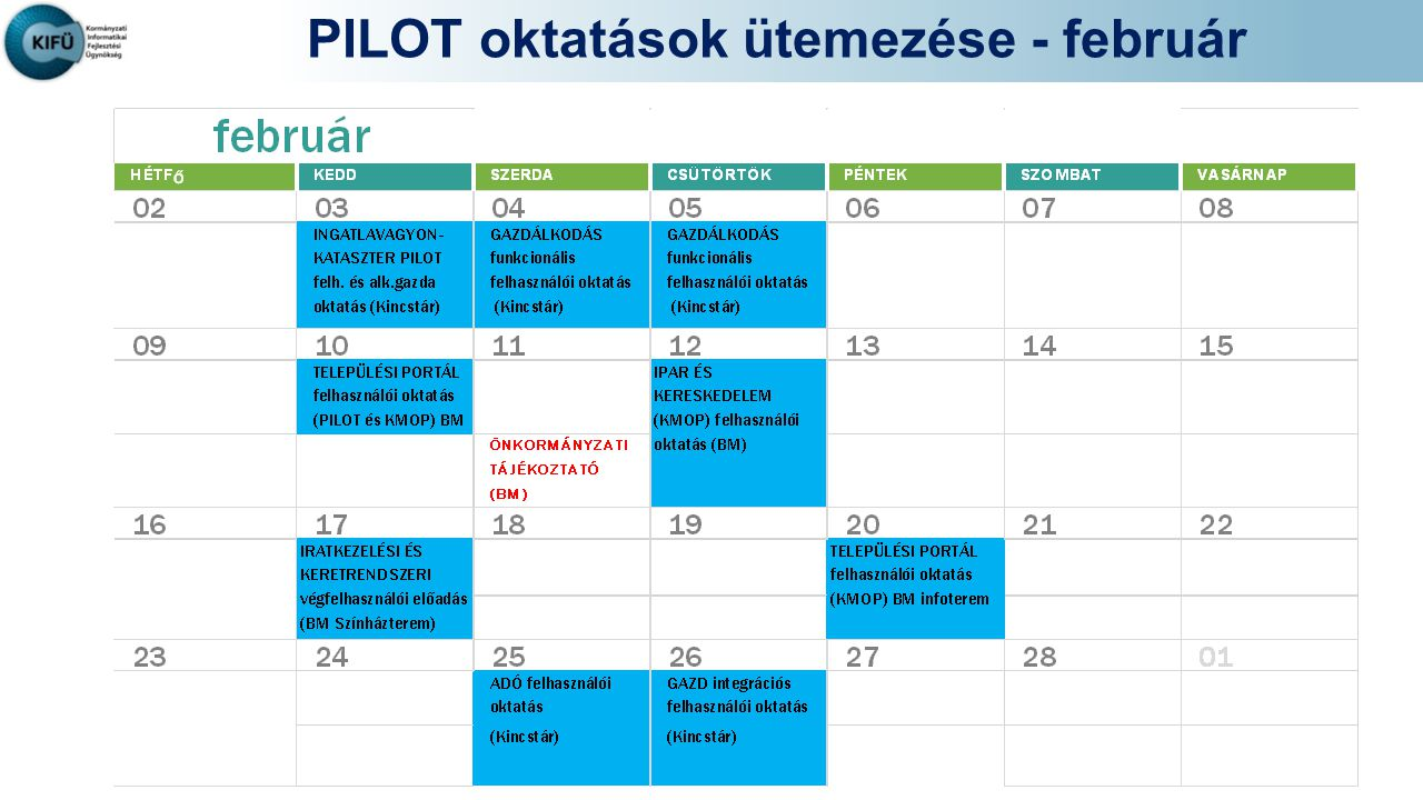 PILOT oktatások ütemezése - február