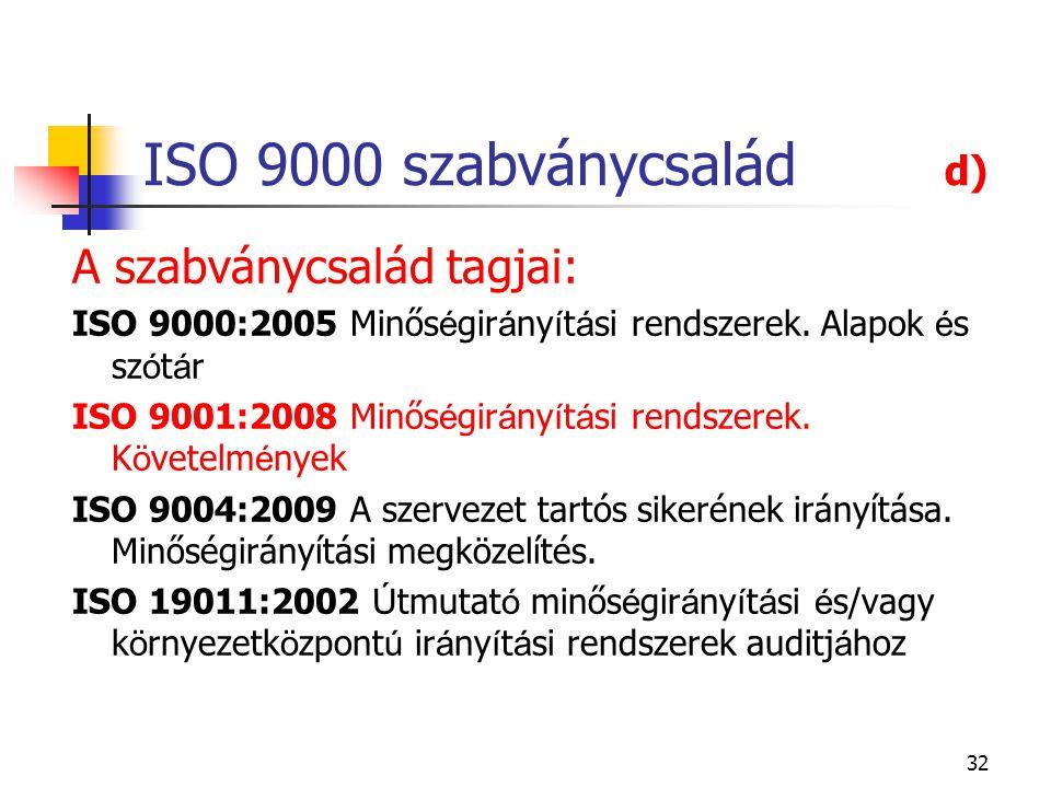 ISO 9000 szabványcsalád d) A szabványcsalád tagjai: