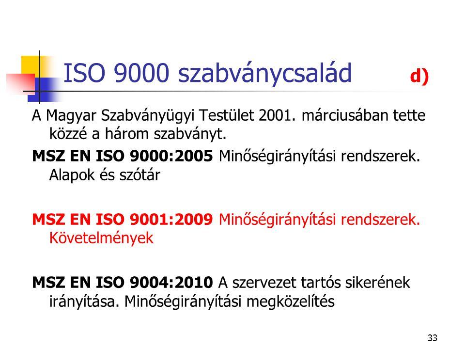 ISO 9000 szabványcsalád d) A Magyar Szabványügyi Testület 2001. márciusában tette közzé a három szabványt.