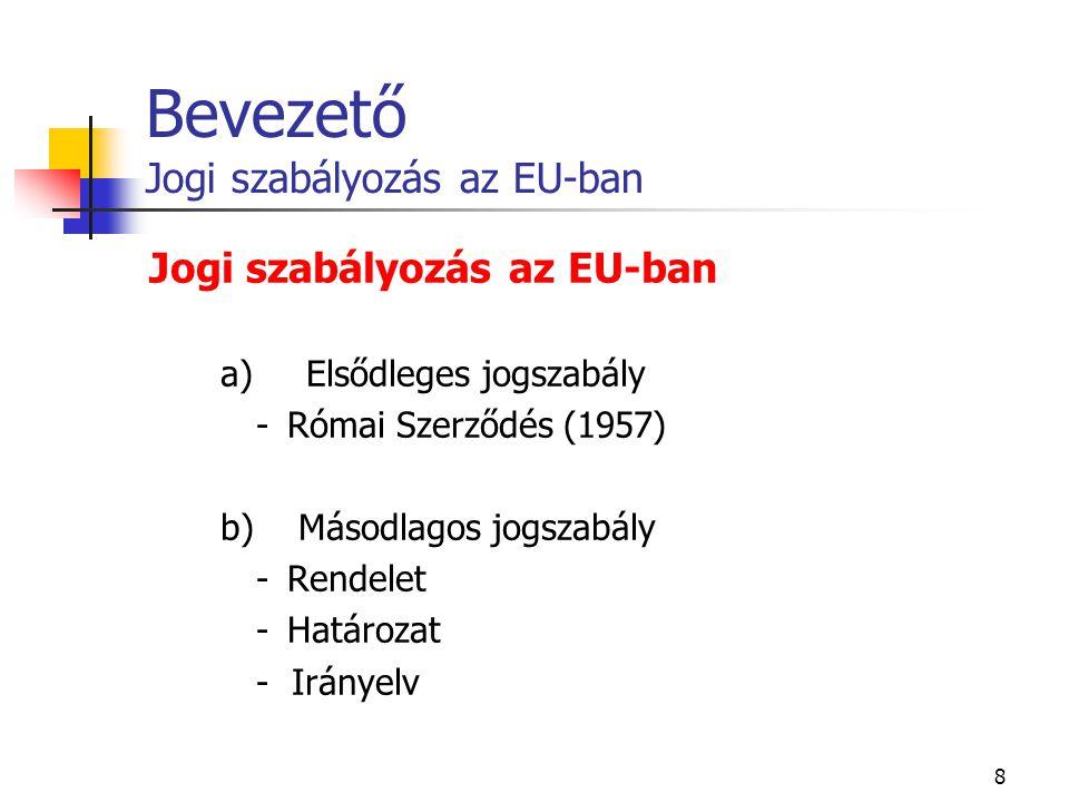 Bevezető Jogi szabályozás az EU-ban