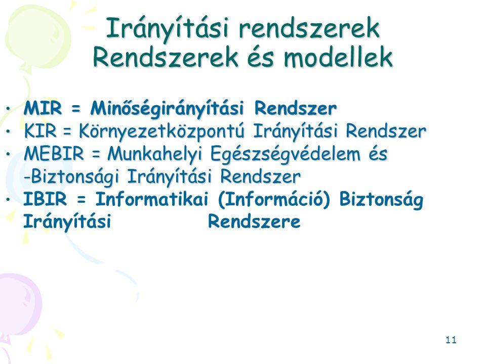 Irányítási rendszerek Rendszerek és modellek