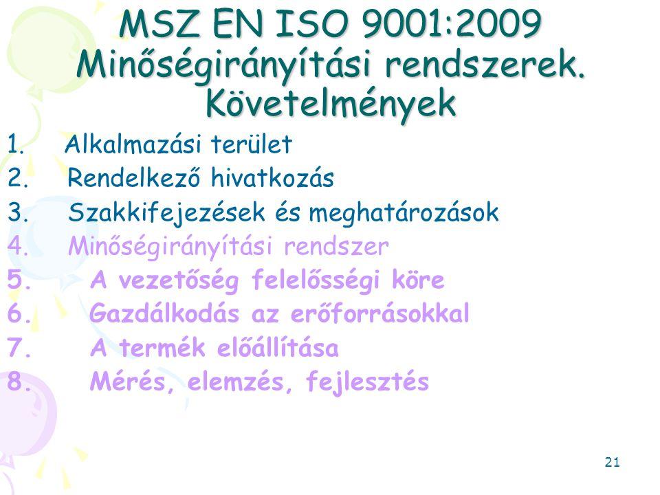 MSZ EN ISO 9001:2009 Minőségirányítási rendszerek. Követelmények