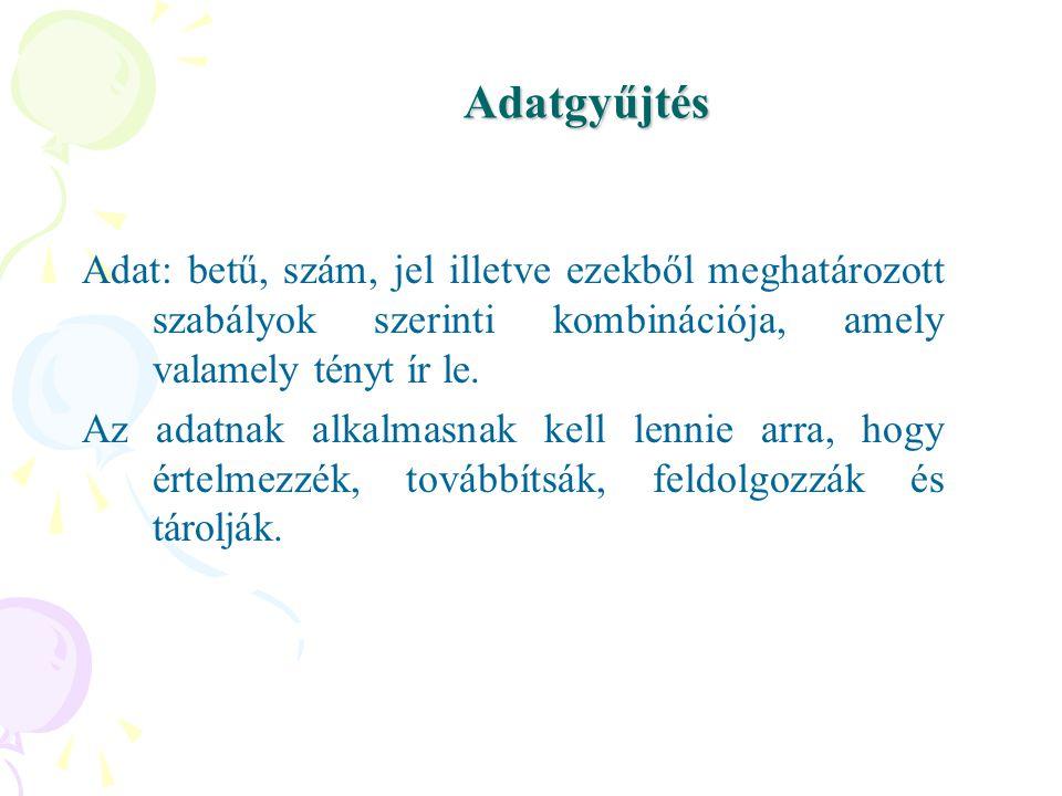 Adatgyűjtés Adat: betű, szám, jel illetve ezekből meghatározott szabályok szerinti kombinációja, amely valamely tényt ír le.