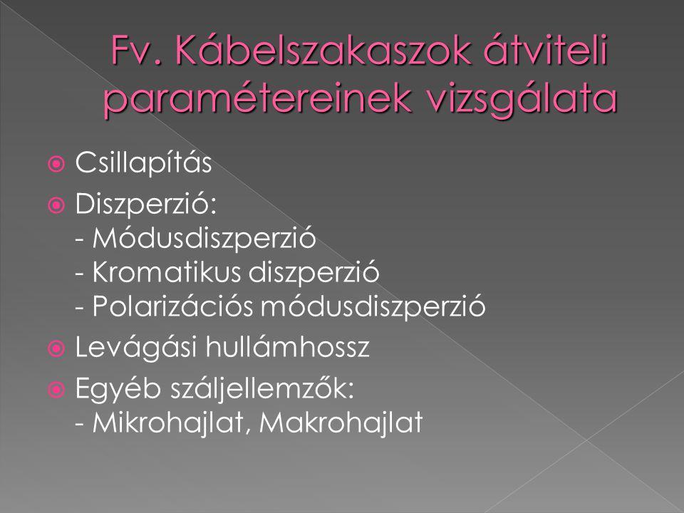 Fv. Kábelszakaszok átviteli paramétereinek vizsgálata