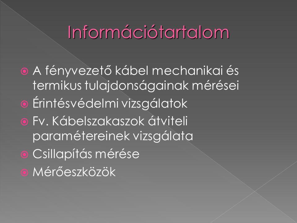 Információtartalom A fényvezető kábel mechanikai és termikus tulajdonságainak mérései. Érintésvédelmi vizsgálatok.