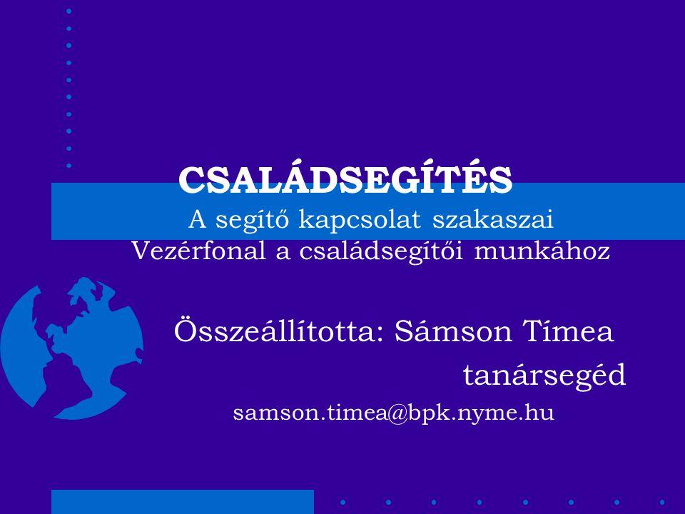 Összeállította: Sámson Tímea tanársegéd samson.timea@bpk.nyme.hu
