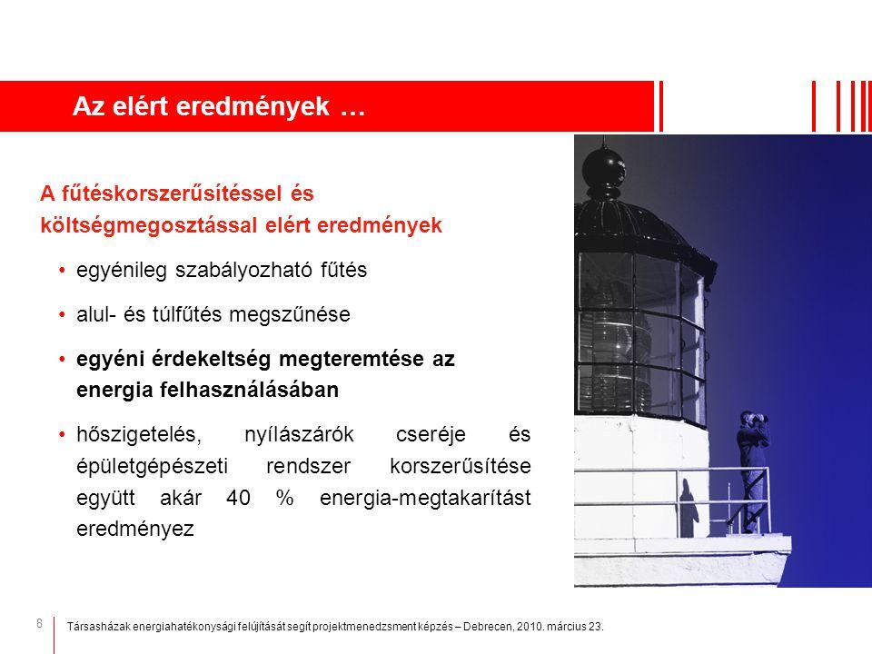 Az elért eredmények … A fűtéskorszerűsítéssel és költségmegosztással elért eredmények. egyénileg szabályozható fűtés.