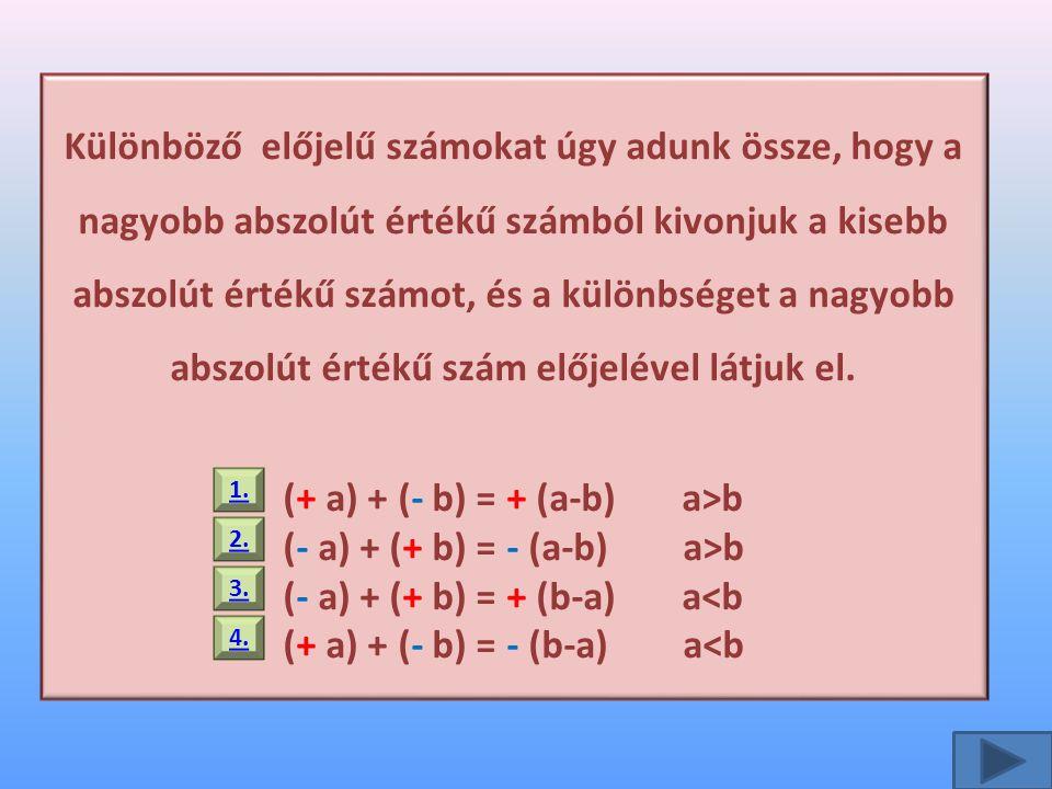 (+ a) + (- b) = + (a-b) a>b (- a) + (+ b) = - (a-b) a>b