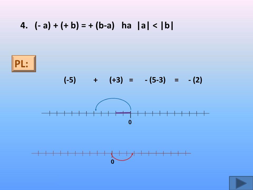 PL: 4. (- a) + (+ b) = + (b-a) ha |a| < |b| (-5) + (+3) = - (5-3) =