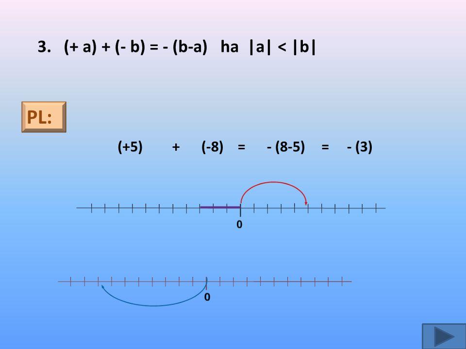 PL: 3. (+ a) + (- b) = - (b-a) ha |a| < |b| (+5) + (-8) = - (8-5) =