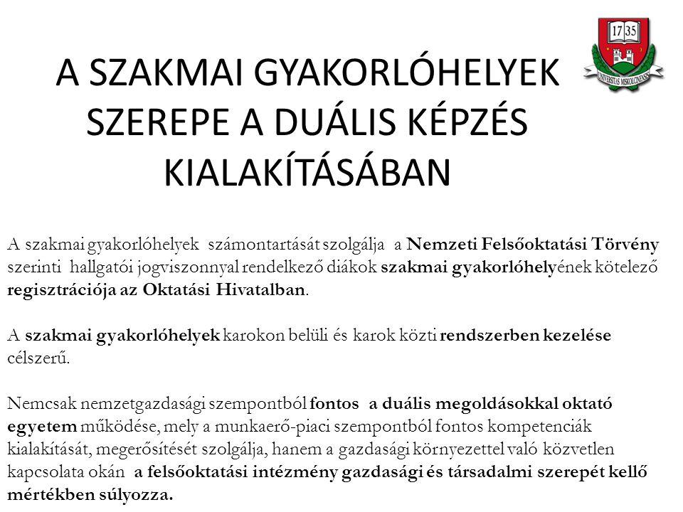 A SZAKMAI GYAKORLÓHELYEK SZEREPE A DUÁLIS KÉPZÉS KIALAKÍTÁSÁBAN