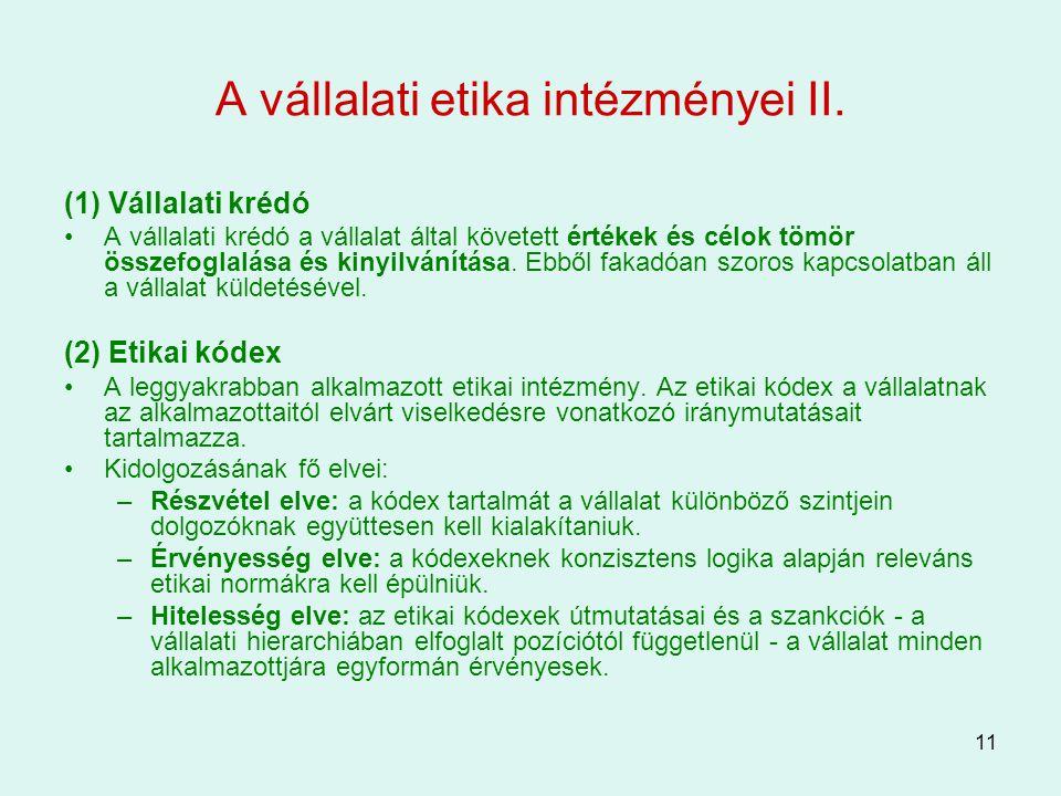 A vállalati etika intézményei II.