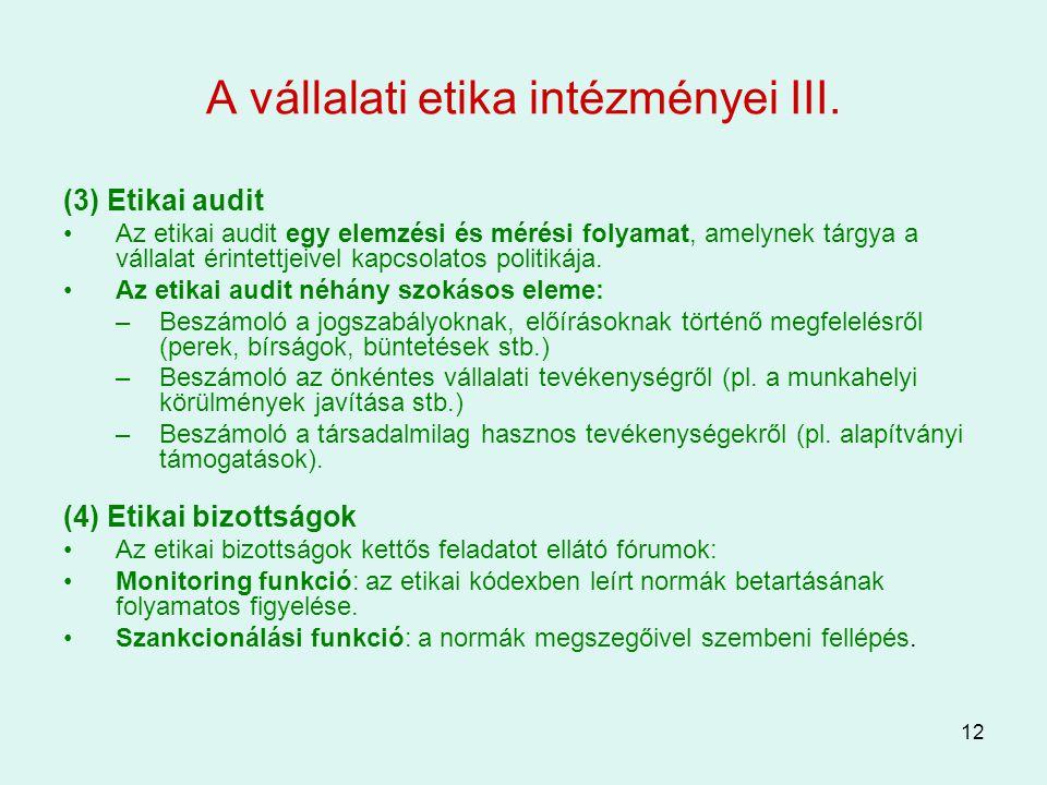 A vállalati etika intézményei III.