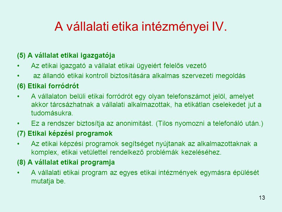 A vállalati etika intézményei IV.