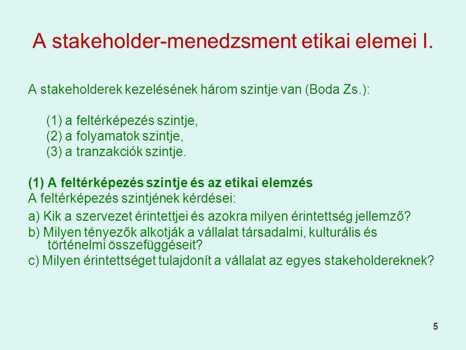 A stakeholder-menedzsment etikai elemei I.