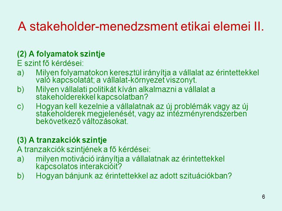A stakeholder-menedzsment etikai elemei II.