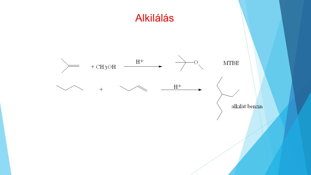 Alkilálás MTBE oktánszám javító és égésfokozó