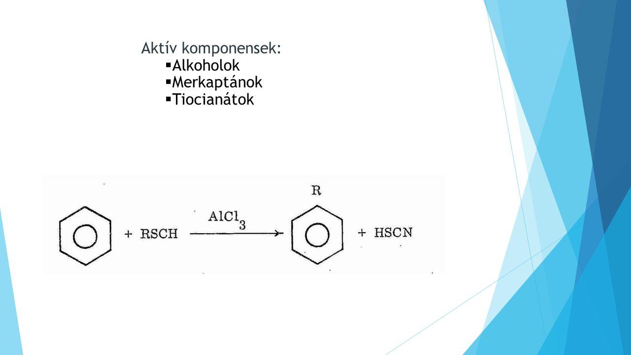 Aktív komponensek: Alkoholok Merkaptánok Tiocianátok