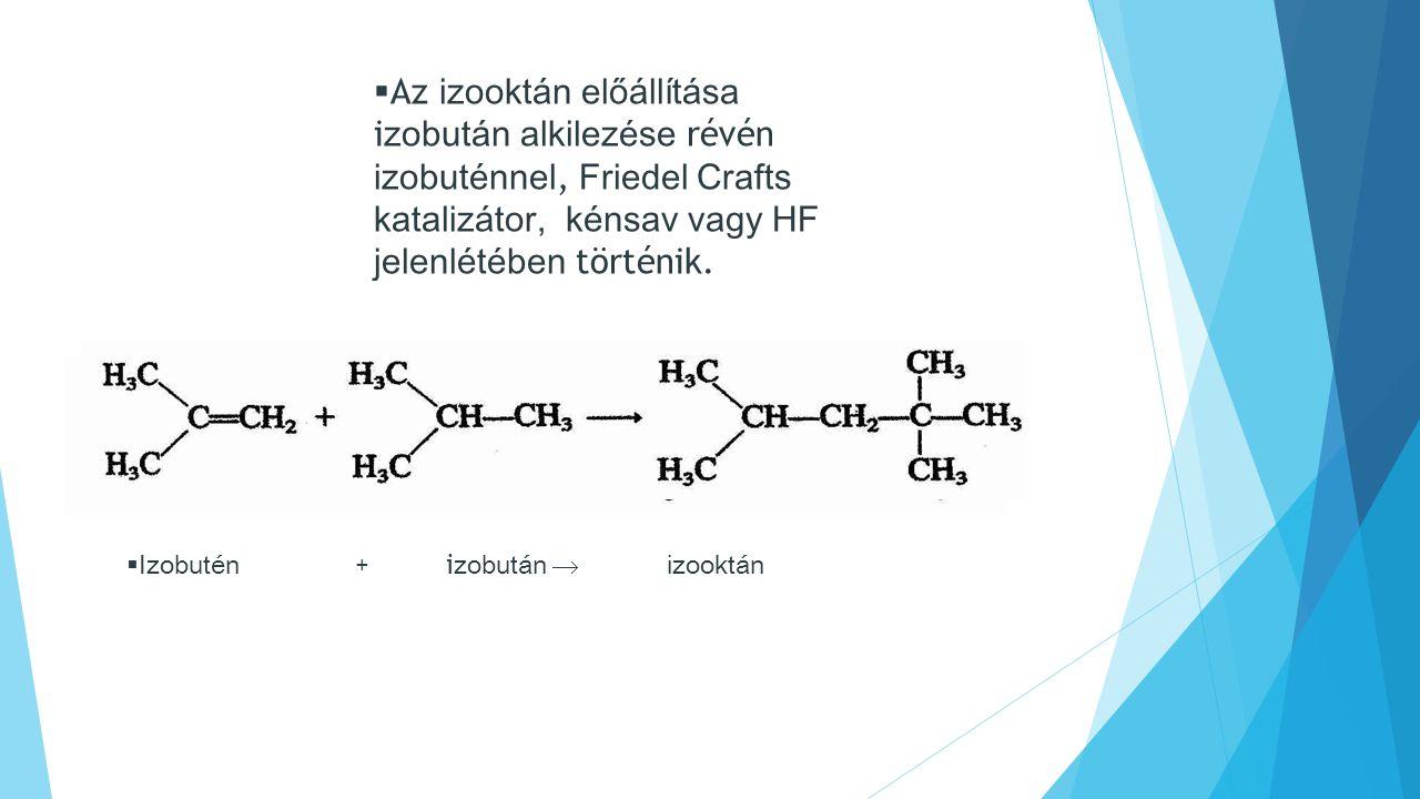 Az izooktán előállítása izobután alkilezése révén izobuténnel, Friedel Crafts katalizátor, kénsav vagy HF jelenlétében történik.