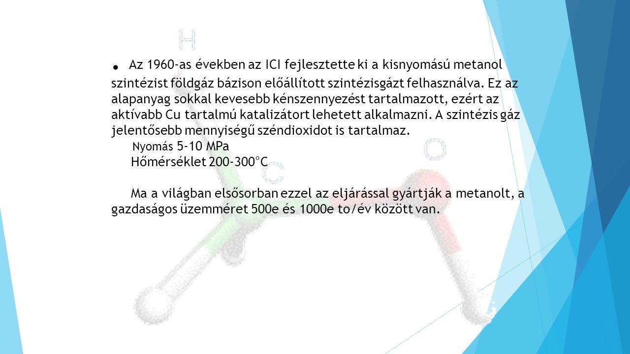. Az 1960-as években az ICI fejlesztette ki a kisnyomású metanol szintézist földgáz bázison előállított szintézisgázt felhasználva. Ez az alapanyag sokkal kevesebb kénszennyezést tartalmazott, ezért az aktívabb Cu tartalmú katalizátort lehetett alkalmazni. A szintézis gáz jelentősebb mennyiségű széndioxidot is tartalmaz.