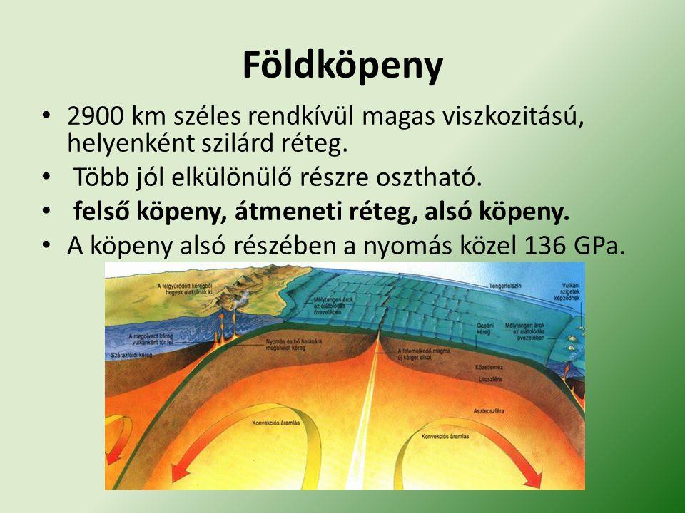 Földköpeny 2900 km széles rendkívül magas viszkozitású, helyenként szilárd réteg. Több jól elkülönülő részre osztható.
