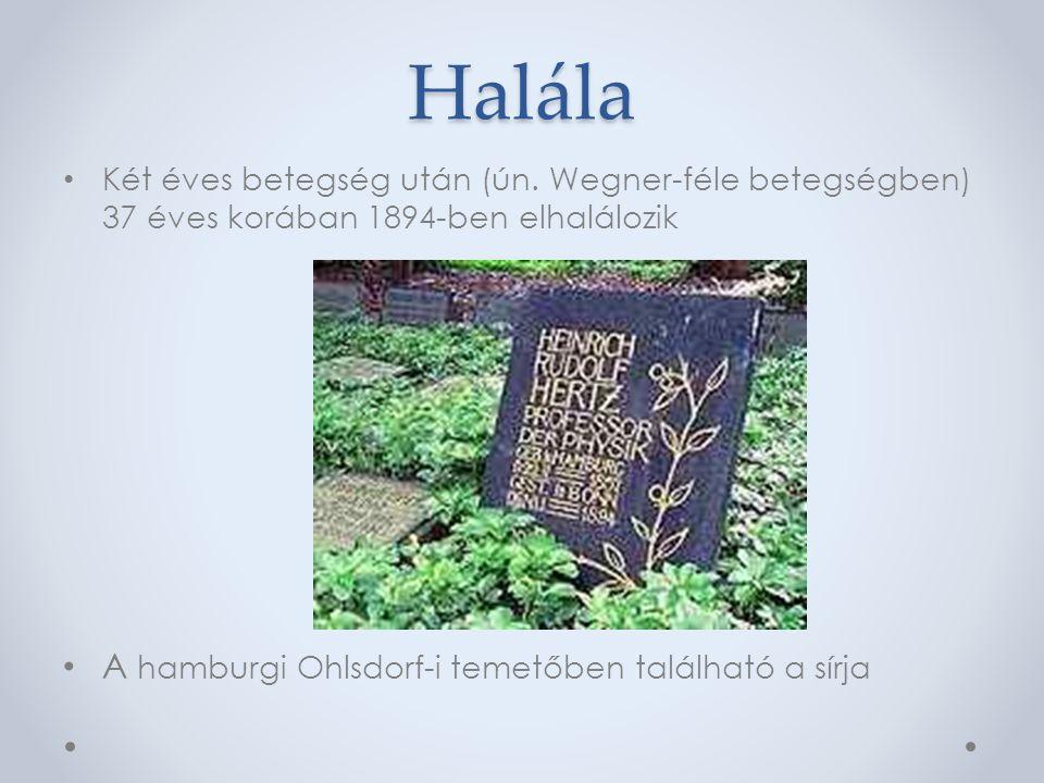 Halála A hamburgi Ohlsdorf-i temetőben található a sírja