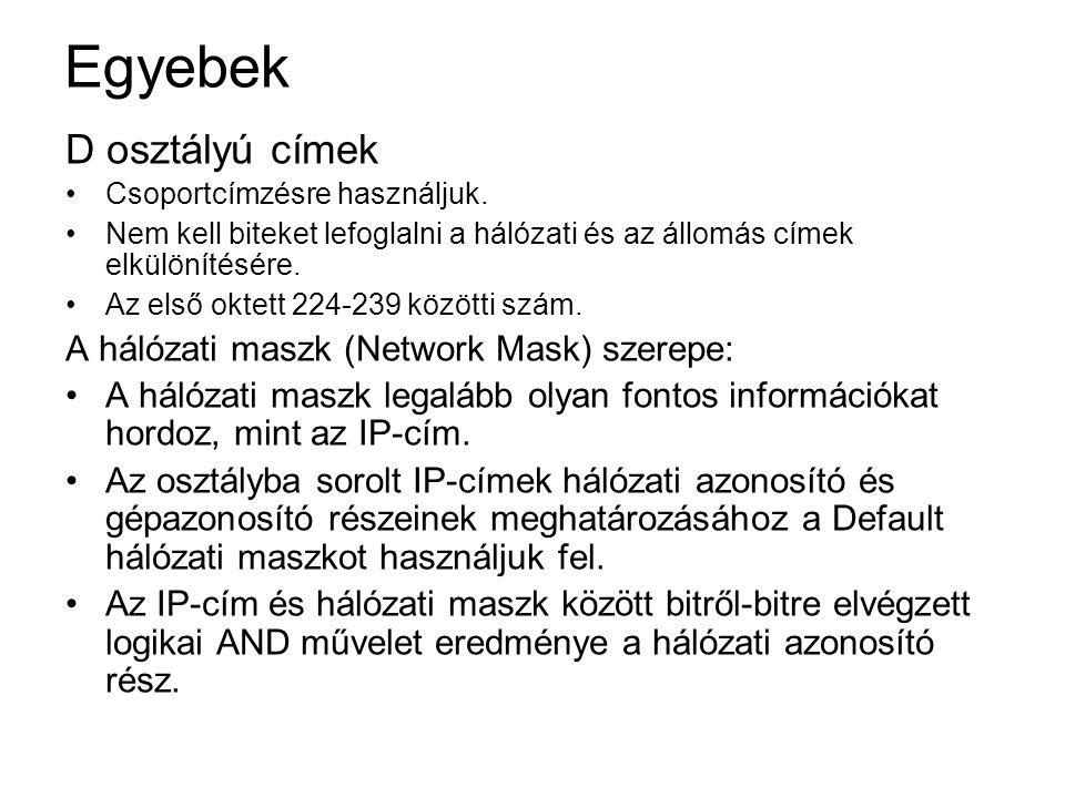 Egyebek D osztályú címek A hálózati maszk (Network Mask) szerepe: