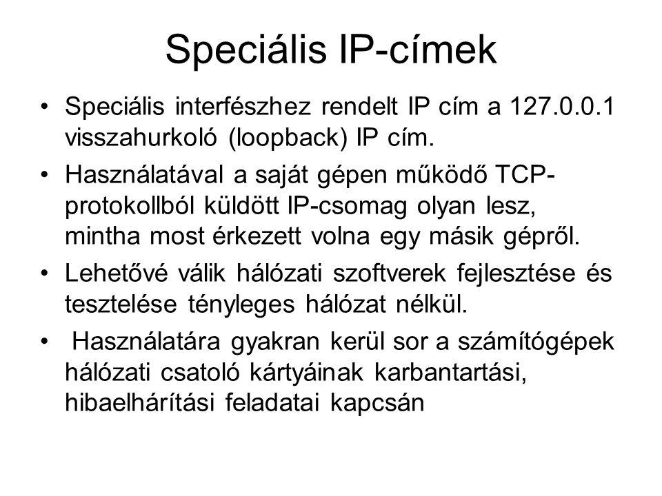 Speciális IP-címek Speciális interfészhez rendelt IP cím a 127.0.0.1 visszahurkoló (loopback) IP cím.