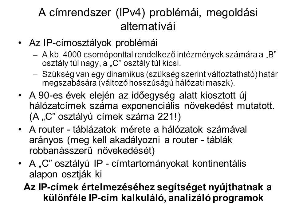 A címrendszer (IPv4) problémái, megoldási alternatívái