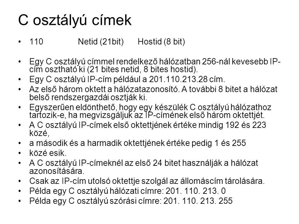 C osztályú címek 110 Netid (21bit) Hostid (8 bit)