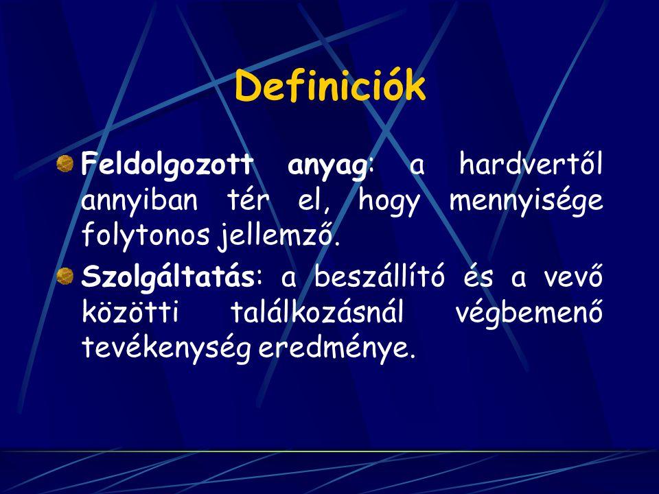 Definiciók Feldolgozott anyag: a hardvertől annyiban tér el, hogy mennyisége folytonos jellemző.