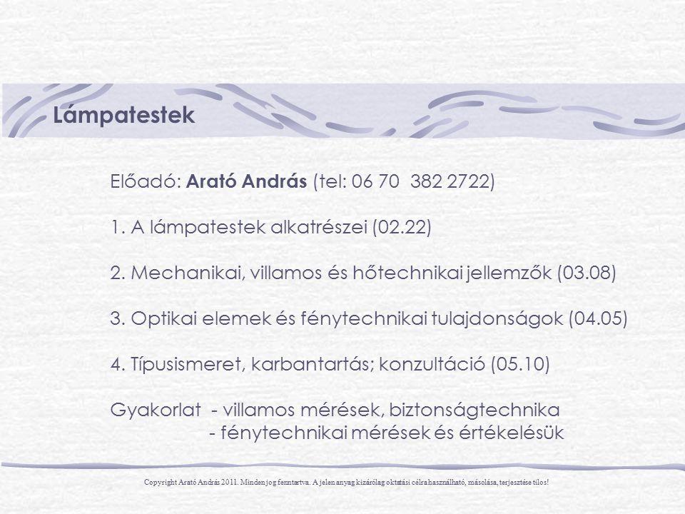 Lámpatestek Előadó: Arató András (tel: 06 70 382 2722)
