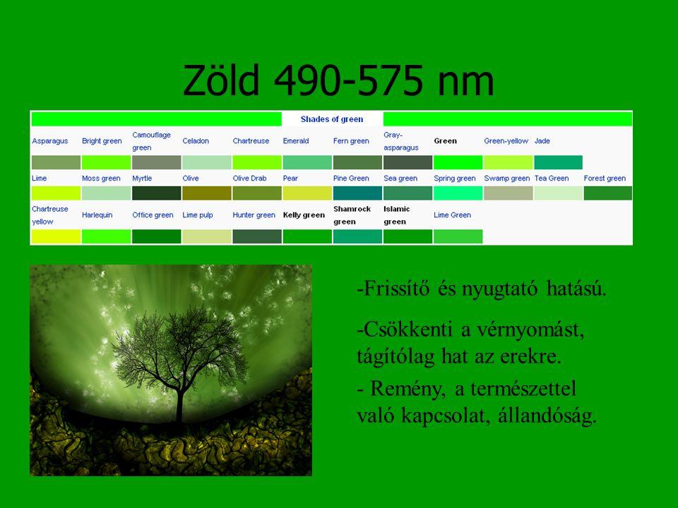 Zöld 490-575 nm -Frissítő és nyugtató hatású.