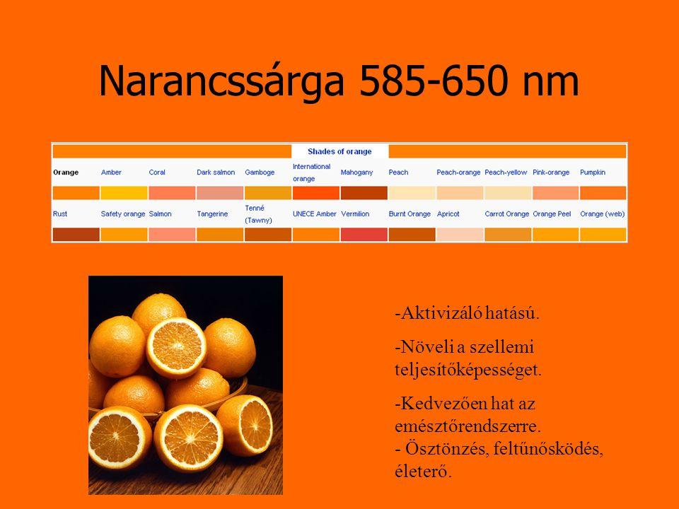 Narancssárga 585-650 nm -Aktivizáló hatású.