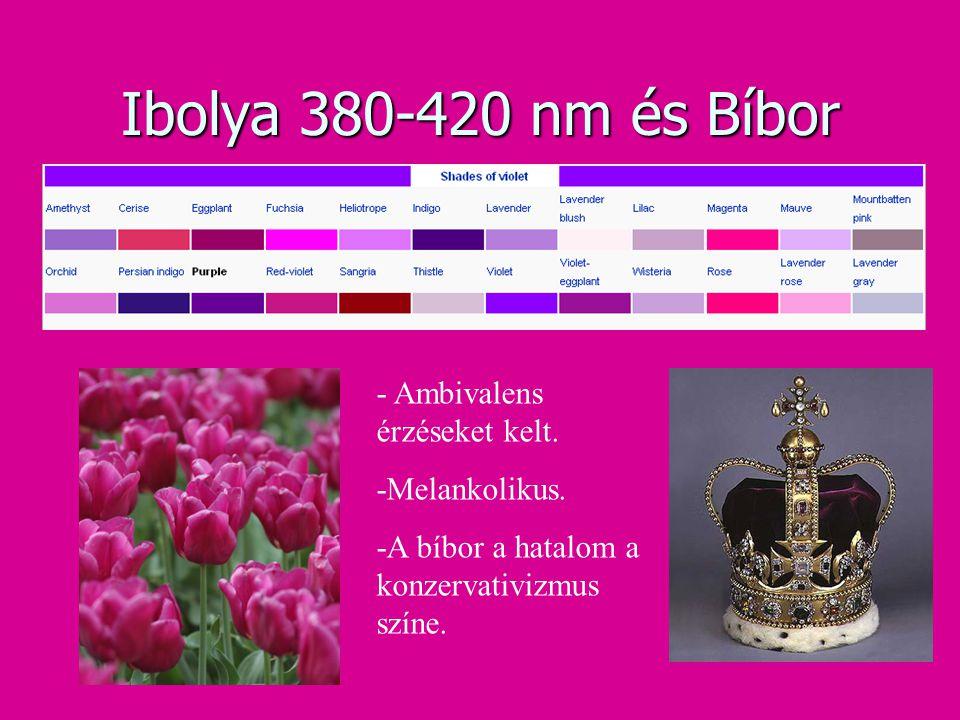 Ibolya 380-420 nm és Bíbor - Ambivalens érzéseket kelt. -Melankolikus.