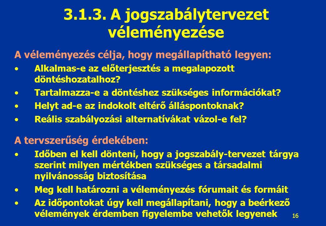 3.1.3. A jogszabálytervezet véleményezése