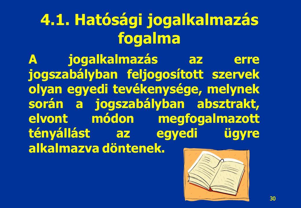 4.1. Hatósági jogalkalmazás fogalma