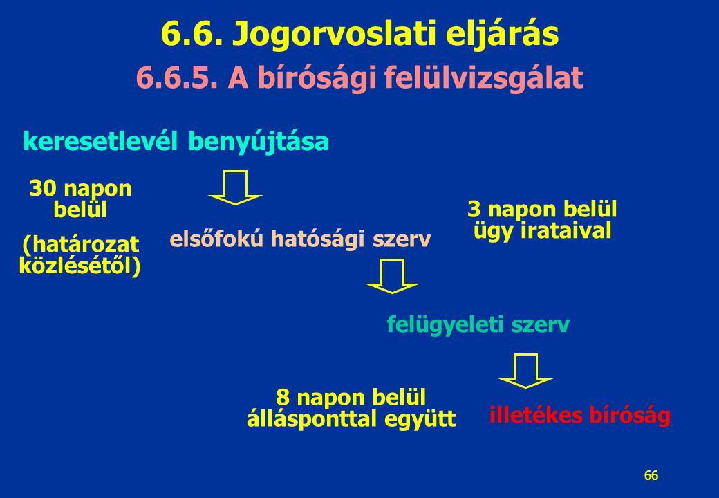 6.6. Jogorvoslati eljárás 6.6.5. A bírósági felülvizsgálat