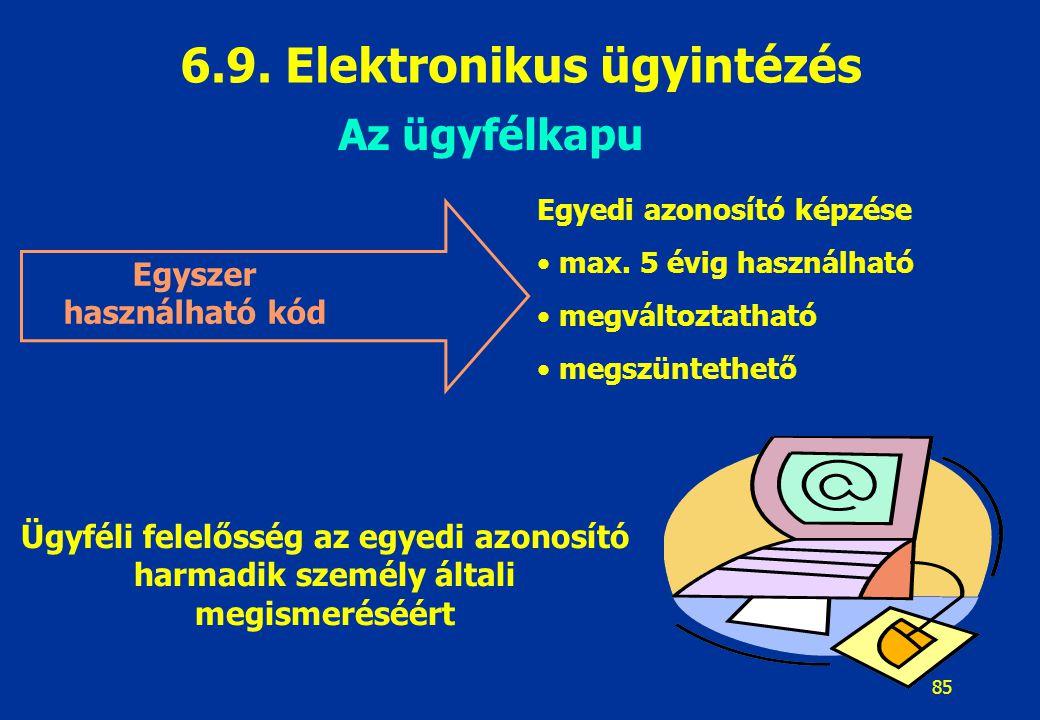 6.9. Elektronikus ügyintézés Egyszer használható kód