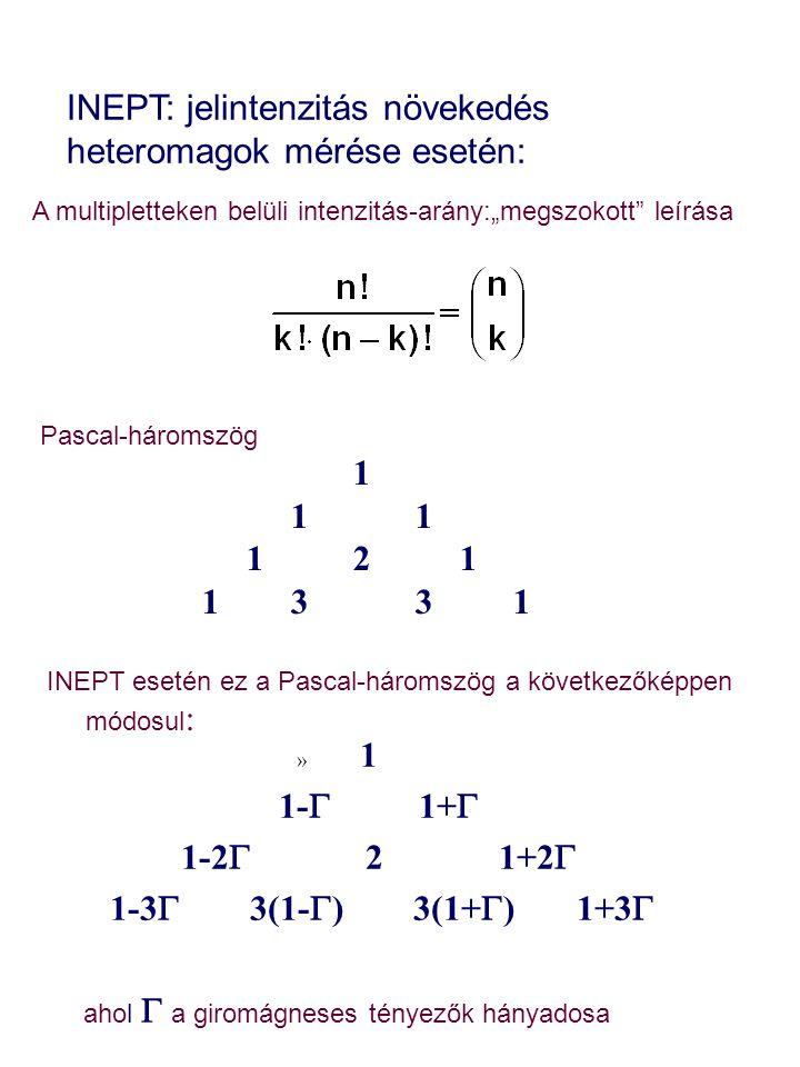 INEPT: jelintenzitás növekedés heteromagok mérése esetén: