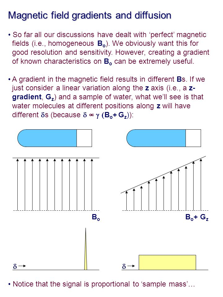 Magnetic field gradients and diffusion