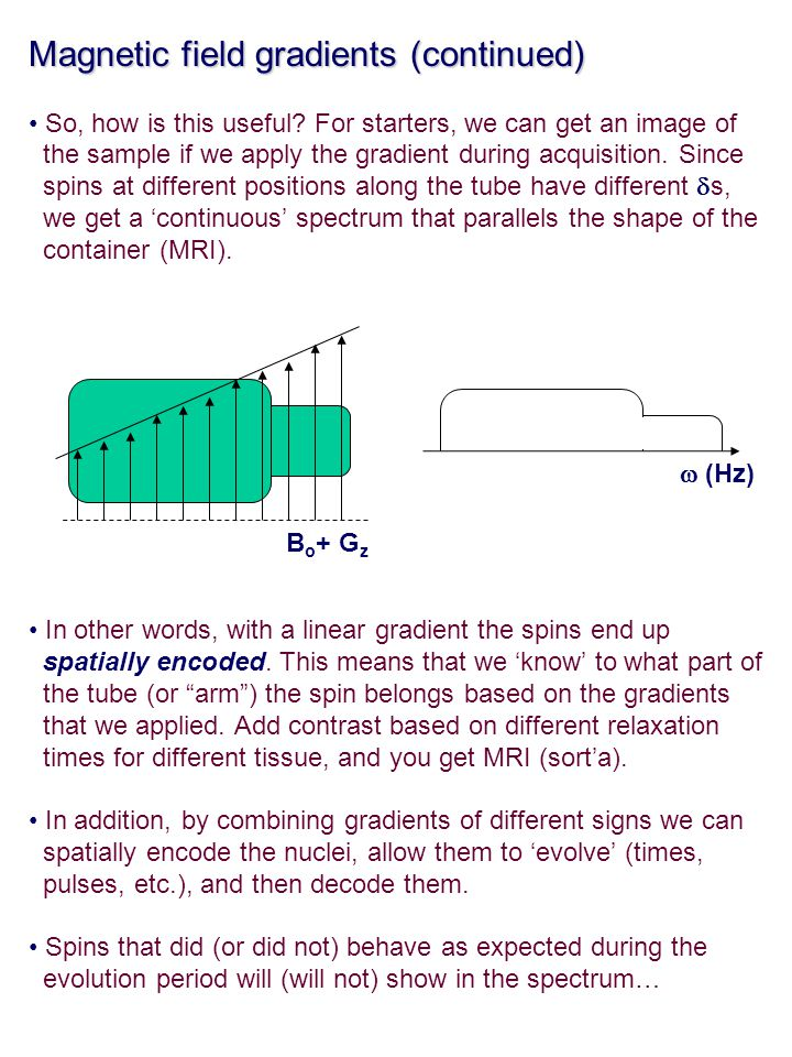 Magnetic field gradients (continued)