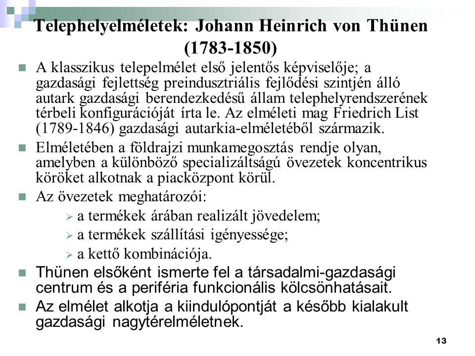 Telephelyelméletek: Johann Heinrich von Thünen (1783-1850)