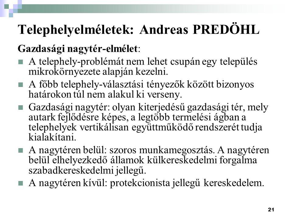 Telephelyelméletek: Andreas PREDÖHL